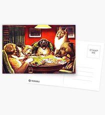 Dogs Playing Poker Vintage postcard Postcards