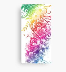 Colorful Retro Floral Pattern Canvas Print