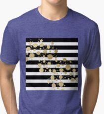 Faux Gold Paint Splatter on Black & White Stripes Tri-blend T-Shirt