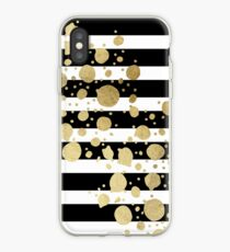 Faux Gold Paint Splatter on Black & White Stripes iPhone Case