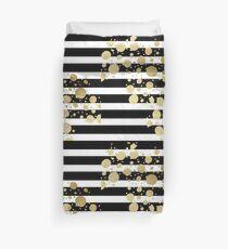 Faux Goldfarbe Splatter auf Black & White Stripes Bettbezug