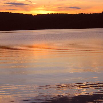 Layers of Gold and Yellow Water, Monksville Sunset by amberwayne52