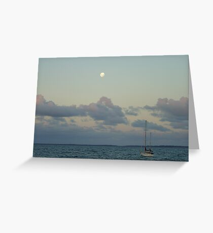 Moonrise over the Mooring. Greeting Card