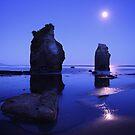 Tongaporutu beach under moonlight - North Island NZ by Mark Shean