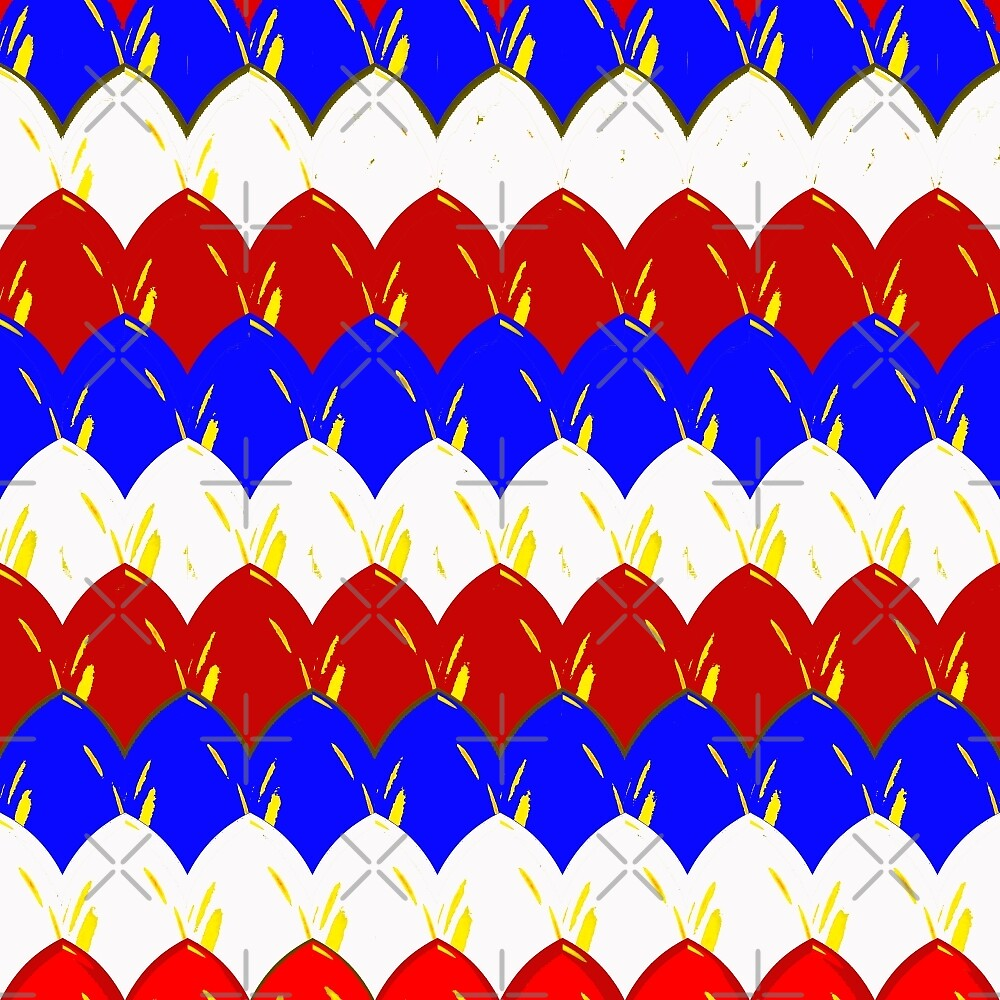 Red White & Blue Dragon Scales by Buckwhite