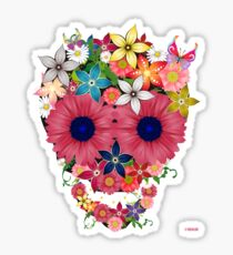 Skull Flowers Sticker