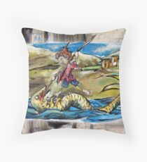 George and the Dragon Throw Pillow