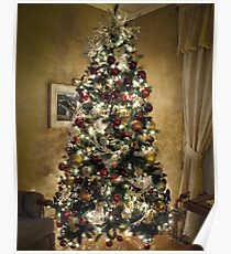 Vignette. Warm Christmas Scene Atmosphere ~ Shiny Ornaments & Xmas Lights on a Large Xmas Tree ~ Holiday Season Poster