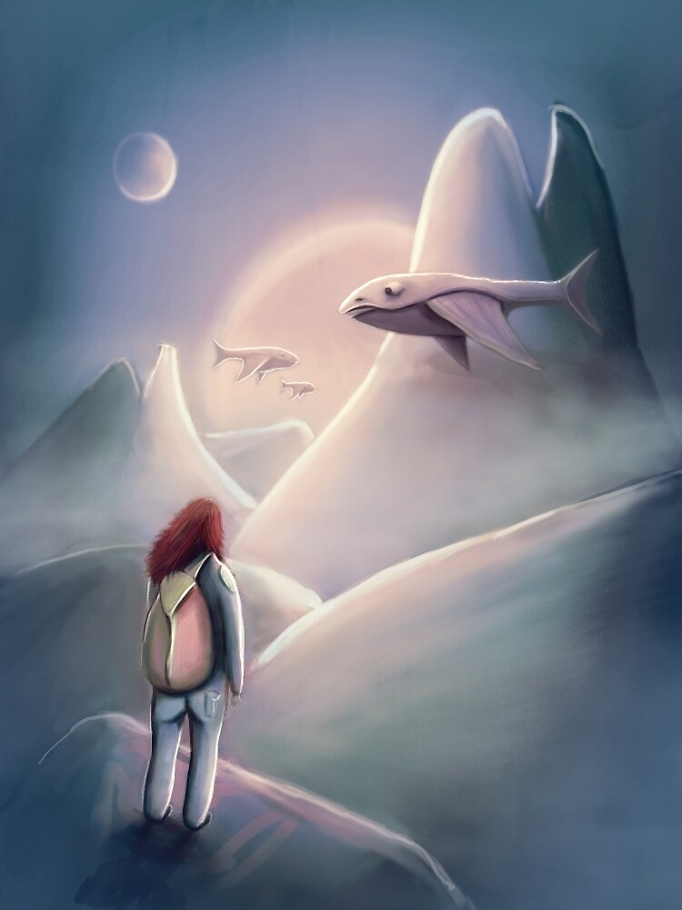 Girl Hiking On The Planet Of The Flying Whales by ruidaniel