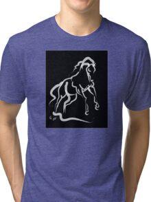 Horse white runner Tri-blend T-Shirt