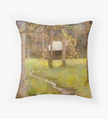 Cades  Cove - Carter Shields Cabin  Throw Pillow