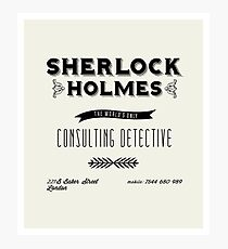 Sherlock Holmes' Business Card Photographic Print