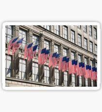 Row of American flags Sticker