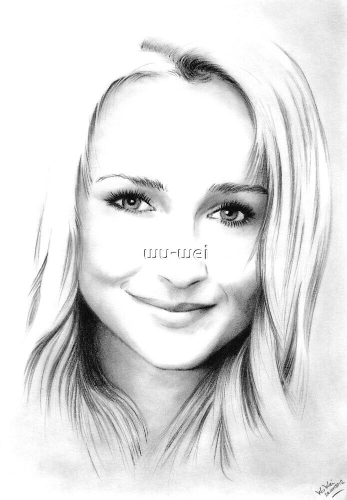 Hayden Panettiere pencil portrait by wu-wei