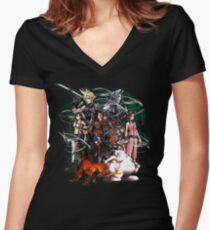 Final Fantasy VII - Collage Women's Fitted V-Neck T-Shirt