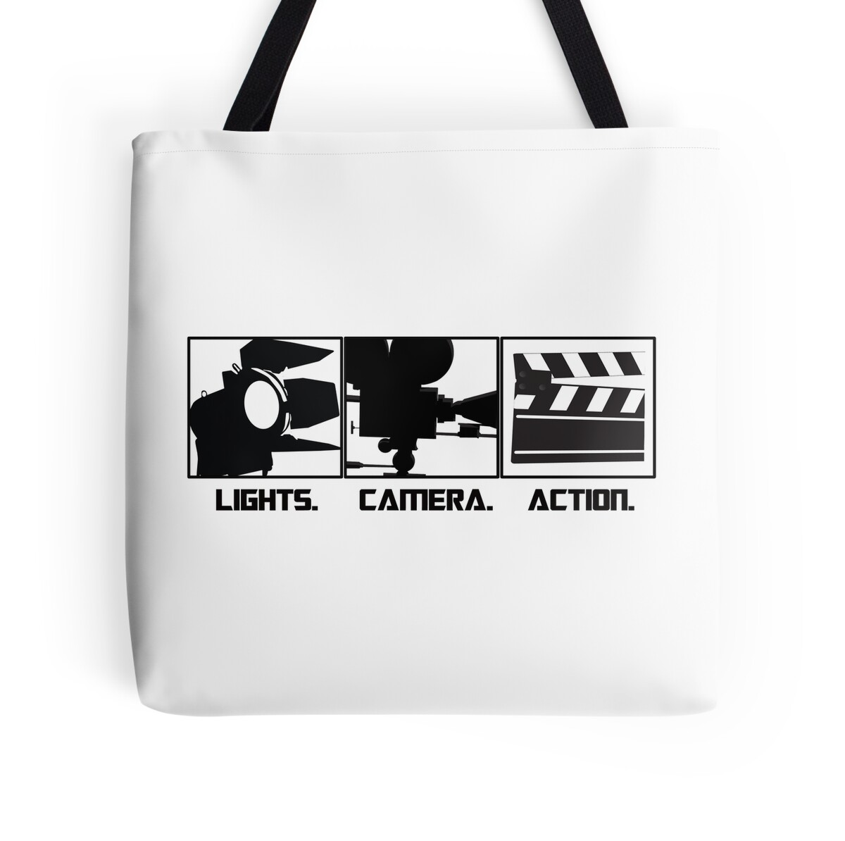 Lights camera action movie maker t shirt tote bags by for Camera blueprint maker gratuito