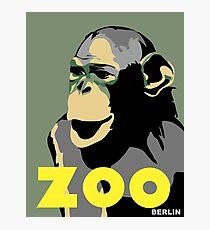 Retro Zoo Berlin monkey travel advertising Photographic Print