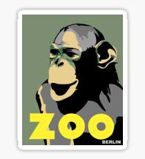 Retro Zoo Berlin monkey travel advertising Sticker