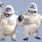 Abominable snowman couple at Christmas by Kiwiana Art Mandii Pope