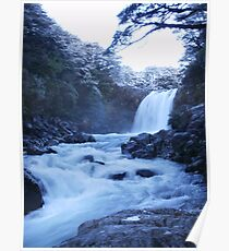 Ice Blue Waterfall Poster