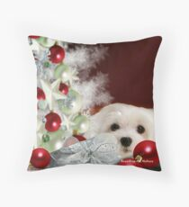Snowdrop the Maltese at Christmas Throw Pillow