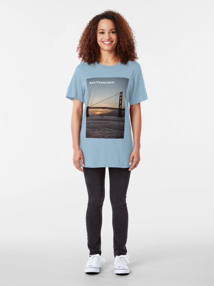 Alternate view of Golden Gate Bridge - Sunset From Torpedo Wharf Slim Fit T-Shirt