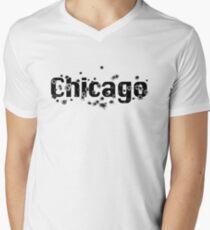 Chicago Mafia History Boss Gunshots  Mens V-Neck T-Shirt