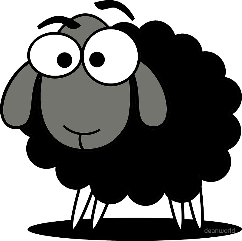 cute cartoon black sheep