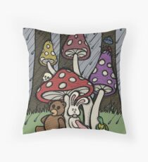 Teddy Bear And Bunny - Rainy Day Blues Throw Pillow