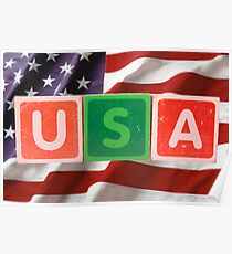 usa and flag in toy block letters Poster