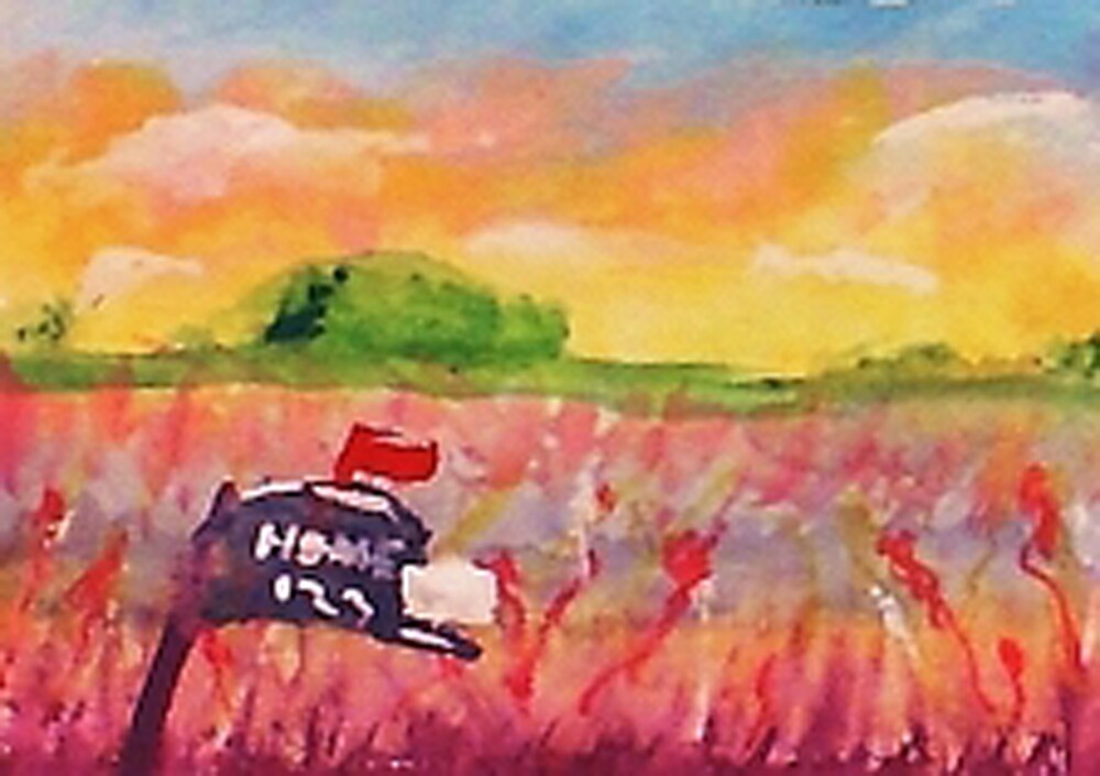 Country mail box, watercolor by Anna  Lewis, blind artist