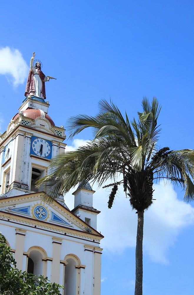 Church Steeple and Palm Tree by rhamm