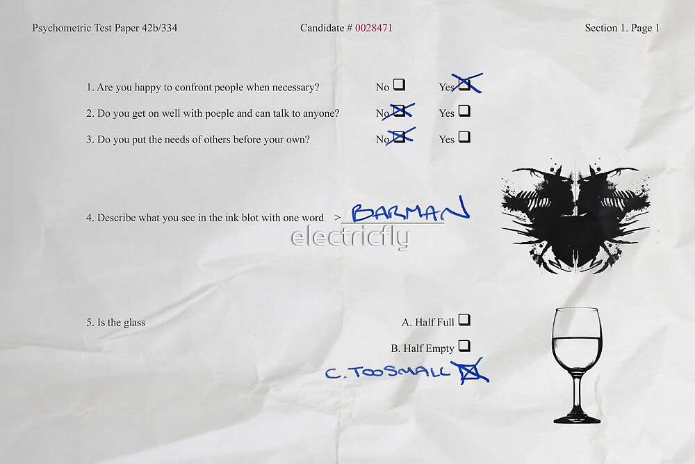 Funny Psychometric test paper by electricfly