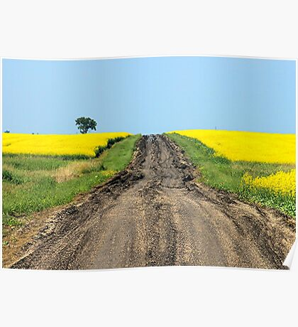 A Muddy Farm Road and A Lone Tree Poster