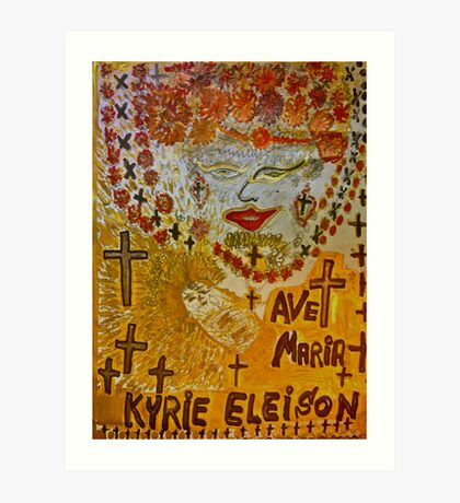 The Joyful Coptic Madonna and the Child . Hippie style. Be sure to wear flowers in your hair . God bless artists . Amen. Views: 640 *Featured Work in Painters Universe  Art Print