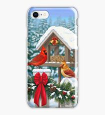 Cardinal Birds and Christmas Bird Feeder iPhone Case/Skin