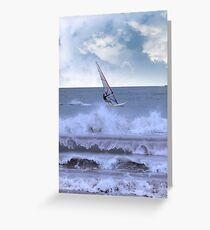 windsurfer windsurfing in a storm Greeting Card