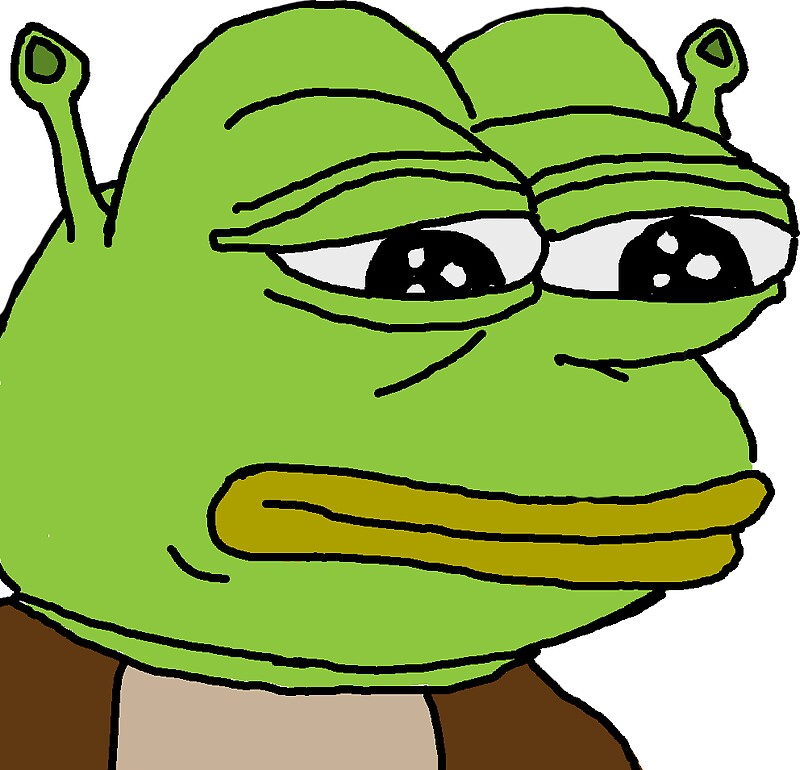 Shrek pepe stickers by frodos shoe redbubble for Take me fishing org