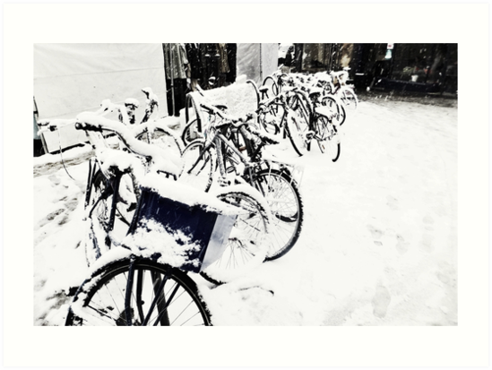 Snow Covered Bicycles by Andy Broomfield