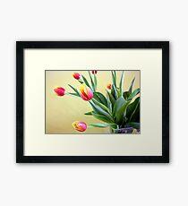 Tulips in Glass Vase Framed Print