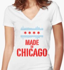Made in Chicago Women's Fitted V-Neck T-Shirt