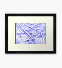 Double exposure high voltage power lines with hundred dollar bill background Framed Print