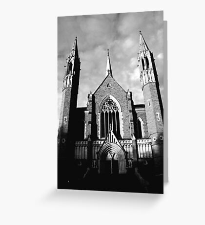 Sacred Heart Cathedral, Bendigo. B&W Greeting Card