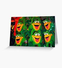 Goofy Green Monkeys Greeting Card