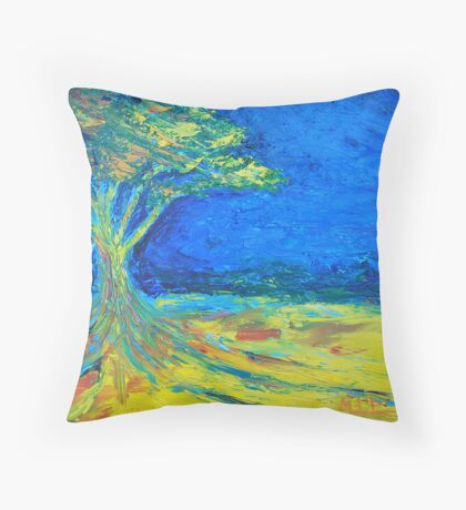 tree in field of loneliness Throw Pillow