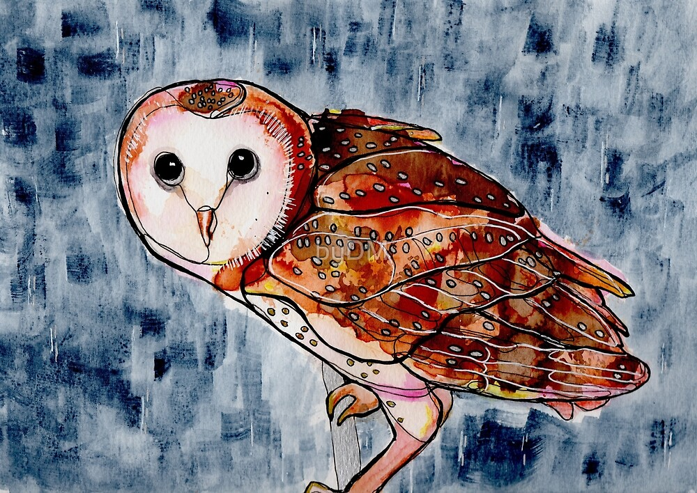Birds in INK ~ Owl by DMxx