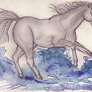 Galloping though Water by samclaire