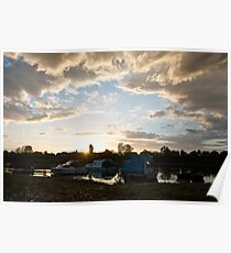 Small boats on the river Sava Poster