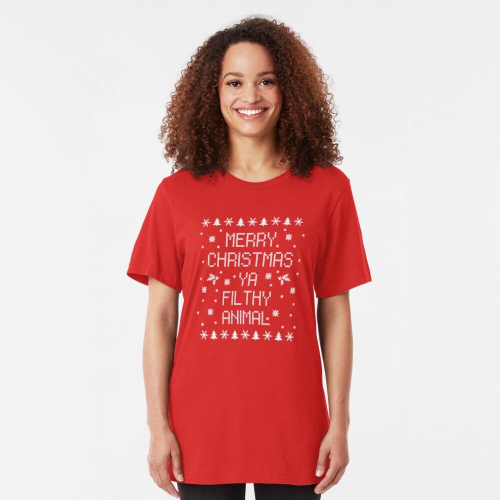 Merry Christmas Ya Filthy Animal Slim Fit T-Shirt