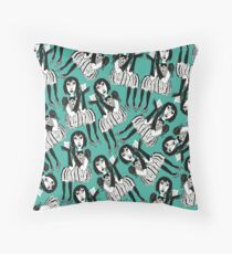 Woman with Black Gloves Throw Pillow